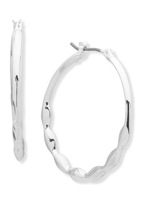 Anne Klein Silver Tone Click It Hoop Earrings