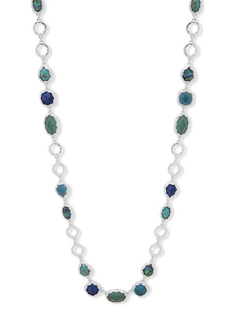 42 Inch Silver Tone Green Stone Strand Necklace