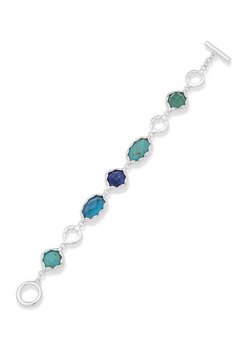 Silver Tone Green Multi Stone Flex Bracelet
