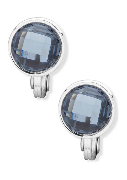 Anne Klein Silver Tone Denim Blue Stone Button