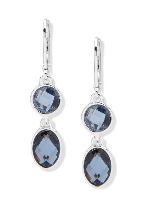 Anne Klein Silver Tone Denim Blue Stone Double
