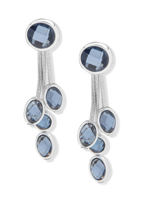 Anne Klein Silver Tone Denim Blue Stone Linear