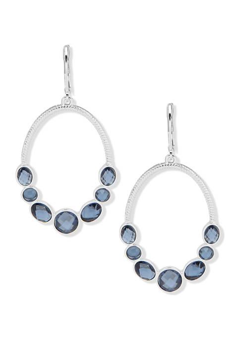 Anne Klein Silver Tone Denim Blue Stone Drop