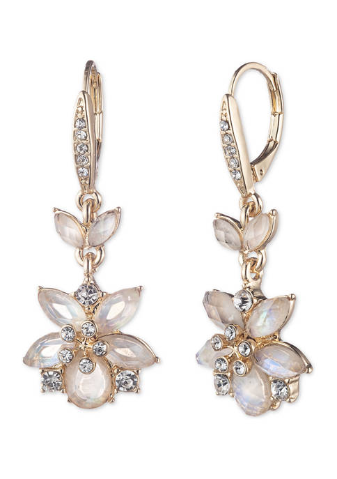 Anne Klein Gold Tone Flower Drop Earrings