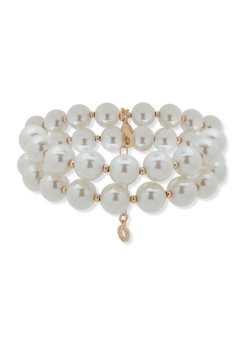 Gold Tone Stretch 2 Row Pearl Bracelet