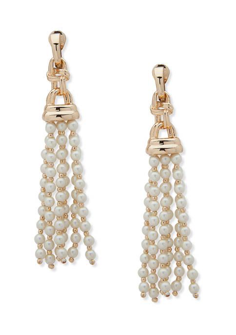 Gold Tone Pearl Tassel EZ Comfort Clip Earrings