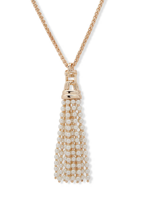 36 Inch Gold Tone Pearl Tassel Necklace