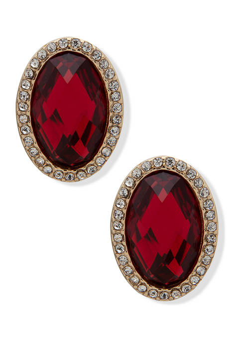 Gold Tone Red Siam and Crystal Oval Button Earrings