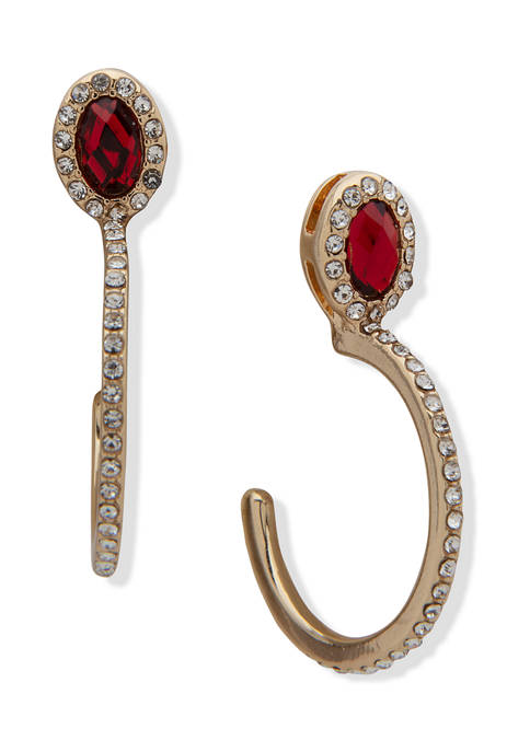 Anne Klein Gold Tone Red Siam and Crystal