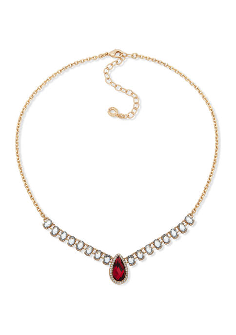 Gold Tone Red Siam and Crystal Baby Stone Frontal Necklace