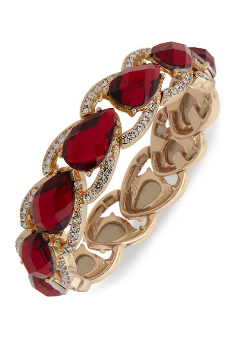 Gold Tone Red Siam and Crystal Stone Stretch Bracelet