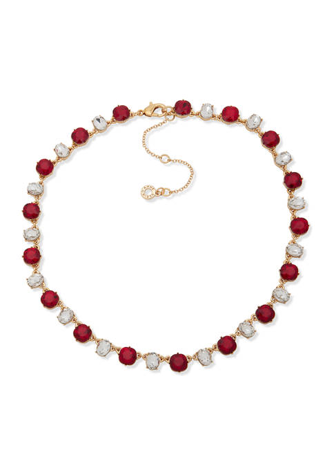 16 Inch Gold Tone Siam Crystal Collar Necklace