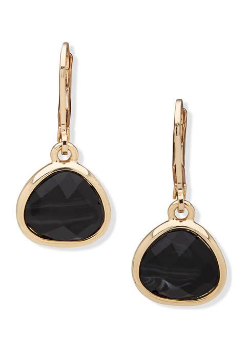 Gold Tone Black Agate Drop Earrings