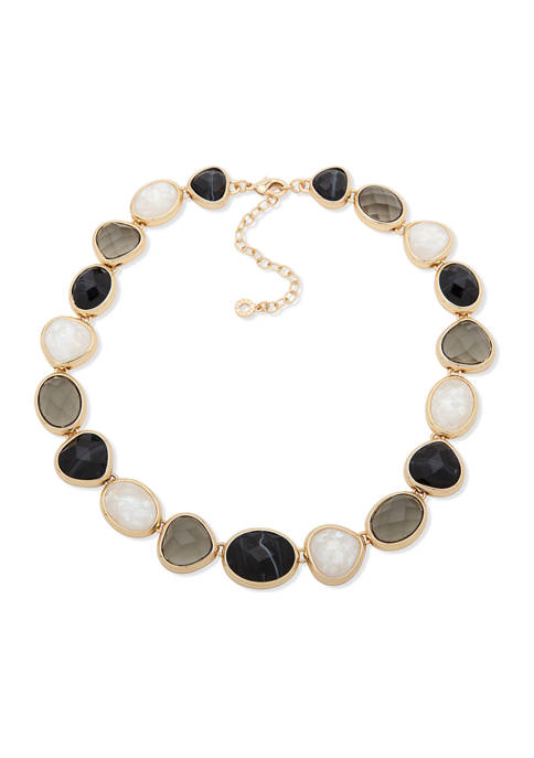 Anne Klein Gold Tone Black with White Mother