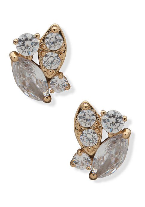 Gold Tone Crystal Navette Cluster Button Earrings