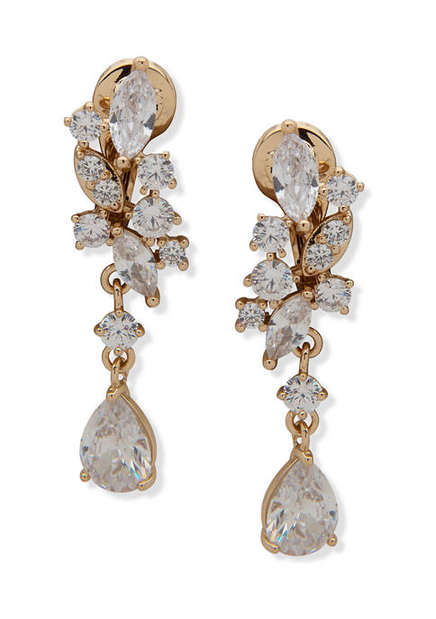 Gold Tone Crystal Navette Cluster Linear Clip Earrings