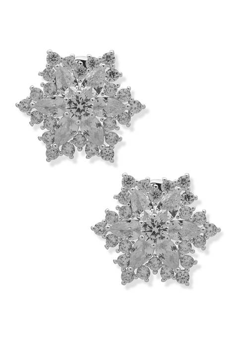 Silver Tone Cluster Stone Button Clip Earrings