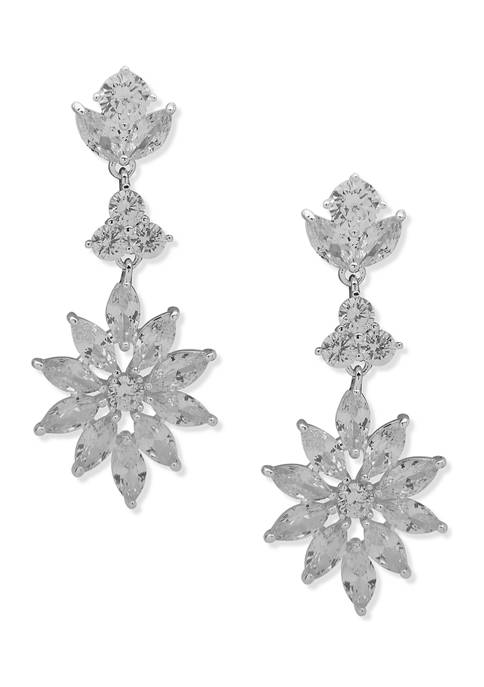 Anne Klein Silver Tone Crystal Stone Navette Linear