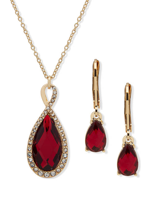 Gold Tone Navette Frontal Siam Crystal Necklace and Earrings Set