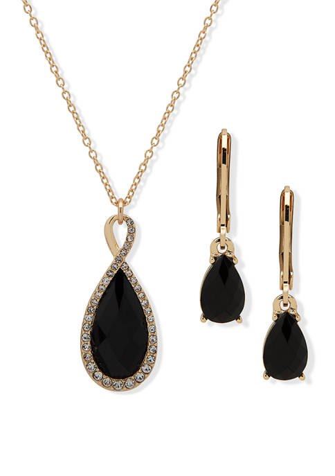 Gold Tone Teardrop Pendant Jet Crystal Necklace and Earrings Set