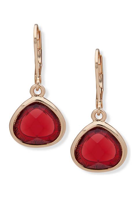 Gold Tone Red Stone Drop Earrings