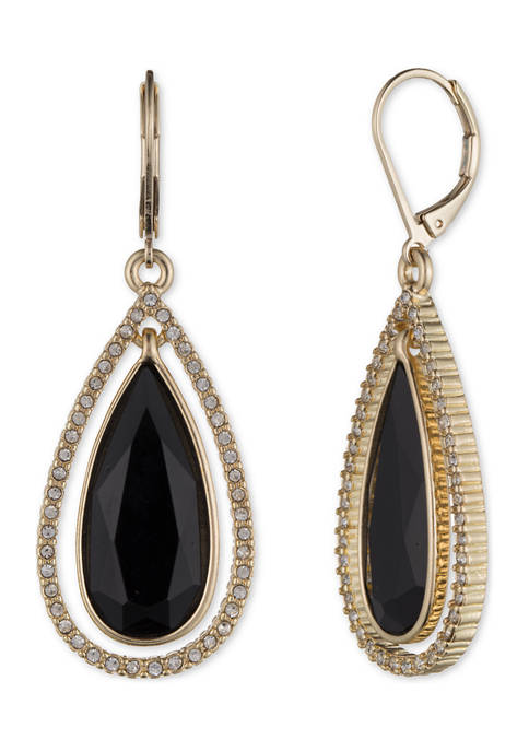 Anne Klein Gold Tone Orbital Teardrop Earrings