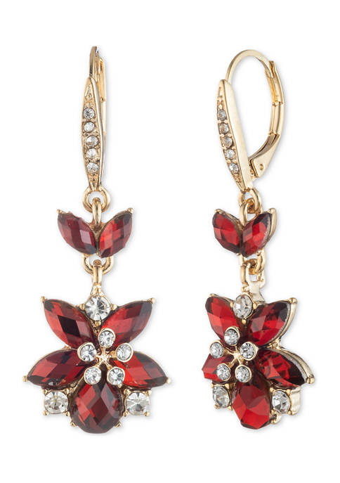 Anne Klein Gold Tone Crystal Flower Drop Earrings