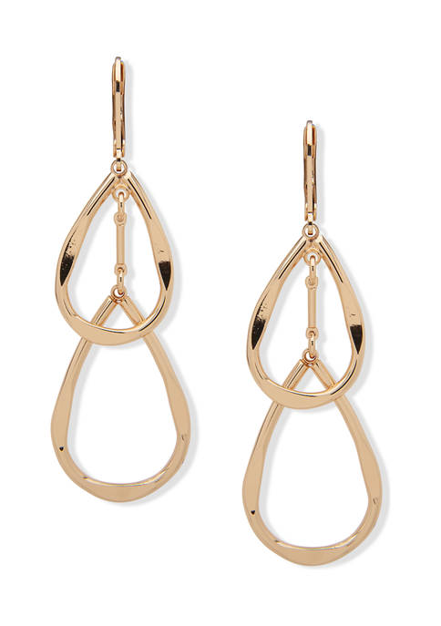 Gold Tone Open Double Drop Pinched Metal Earrings