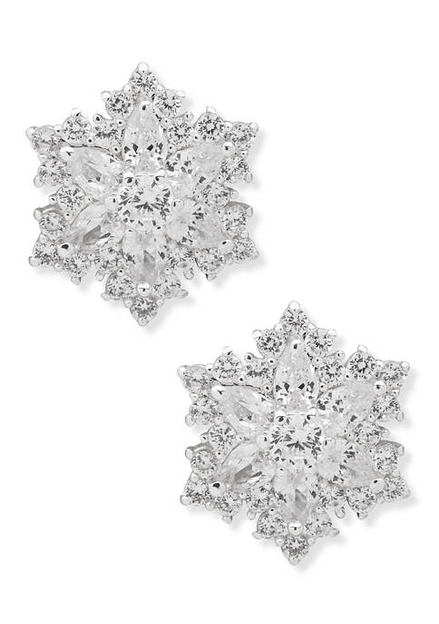 Silver Tone Crystal Snowflake Button Earrings