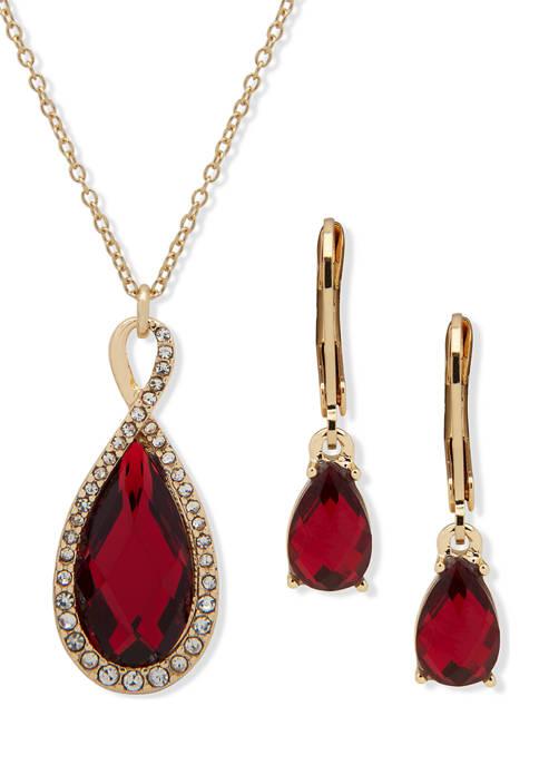 Anne Klein Gold Tone Tear Drop Pendant Necklace