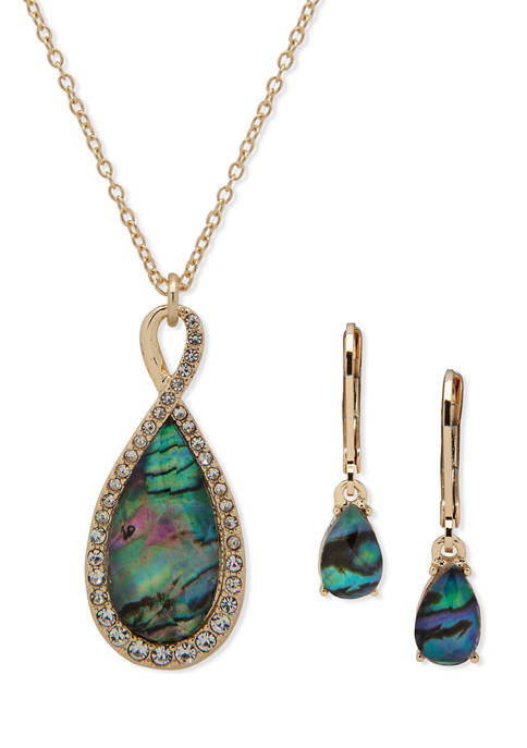 Gold Tone Tear Drop Pendant Necklace and Earring Set