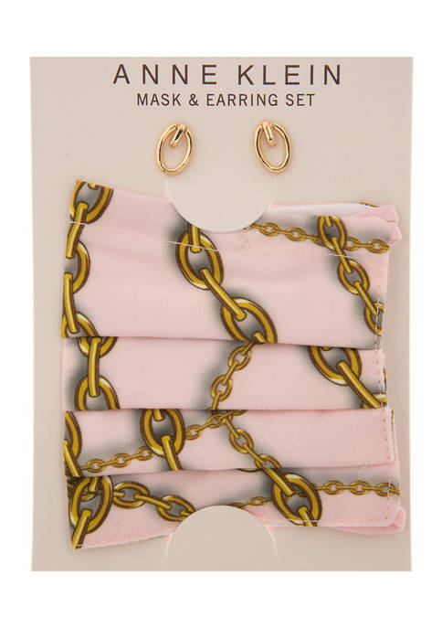 Anne Klein Gold Tone Chain Print Mask and