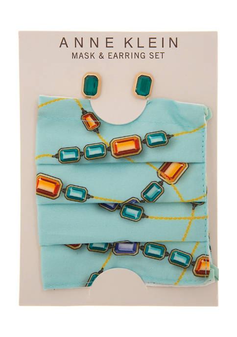 Gold Tone Emerald Stone Earring and Mint Mask Set