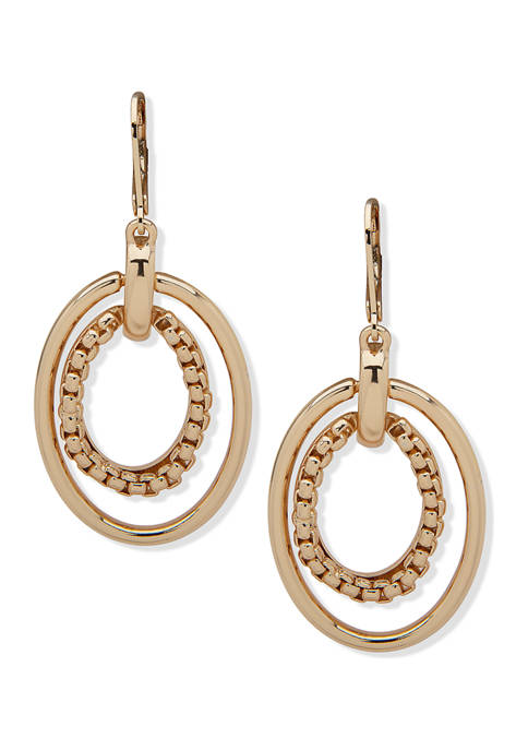 Anne Klein Gold Tone Box Chain Orbital Earrings