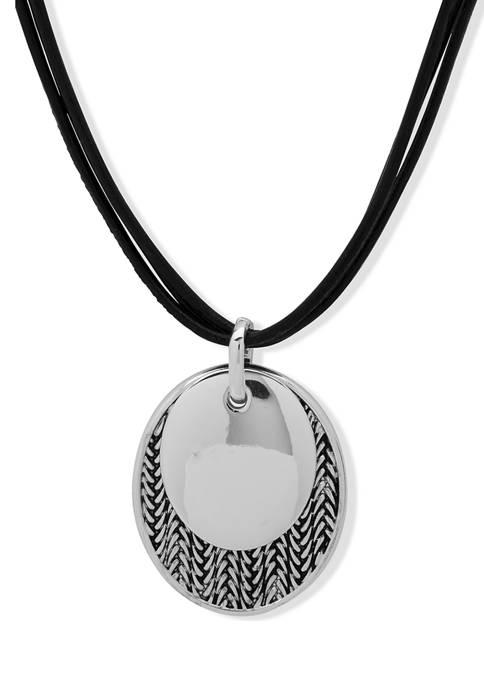 Anne Klein Silver Tone Black Leather Pendant Necklace