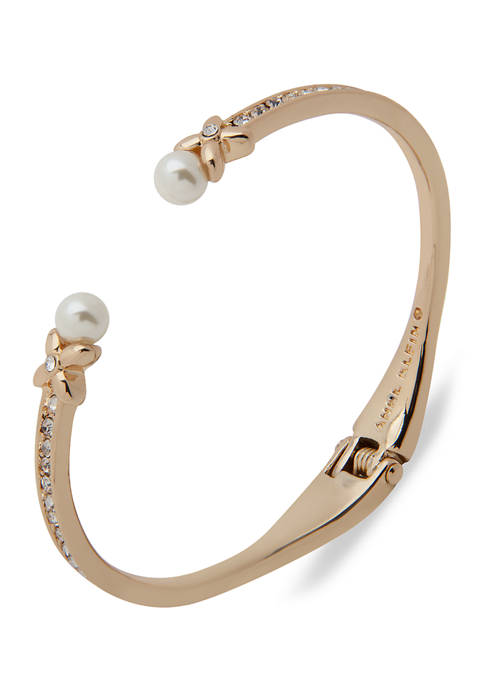 Anne Klein Gold Tone Crystal and Blanc Pearl
