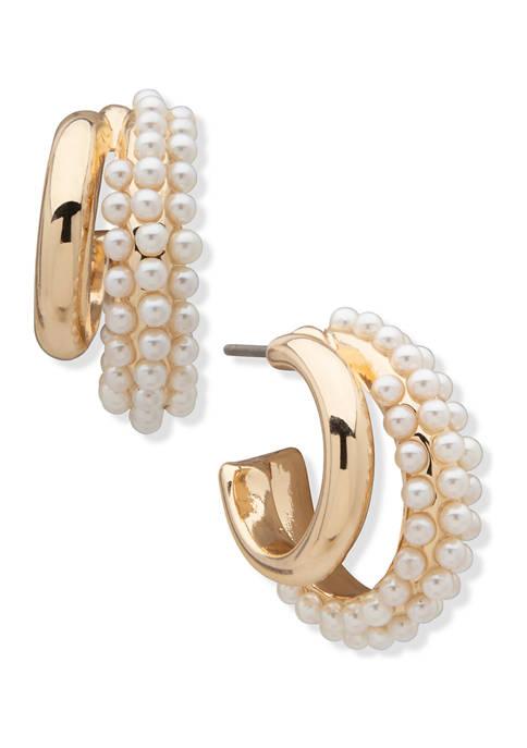 Anne Klein Gold Tone Blanc Pearl Caviar C