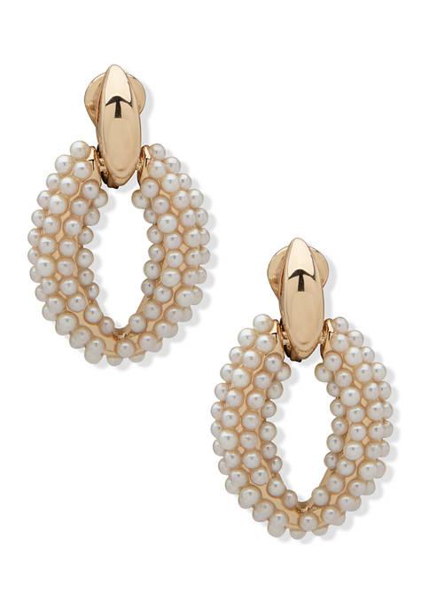 Anne Klein Gold Tone Blanc Pearl Caviar Link