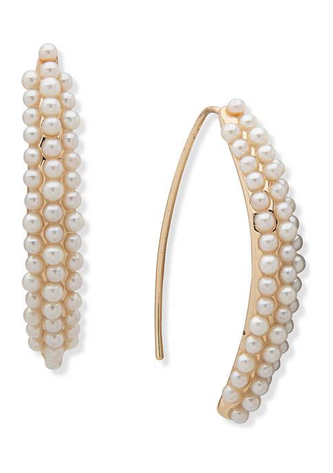 Anne Klein Gold Tone Blanc Pearl Caviar Threader