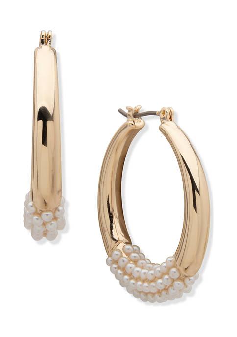 Anne Klein Gold Tone Blamc Pearl Caviar Hoop