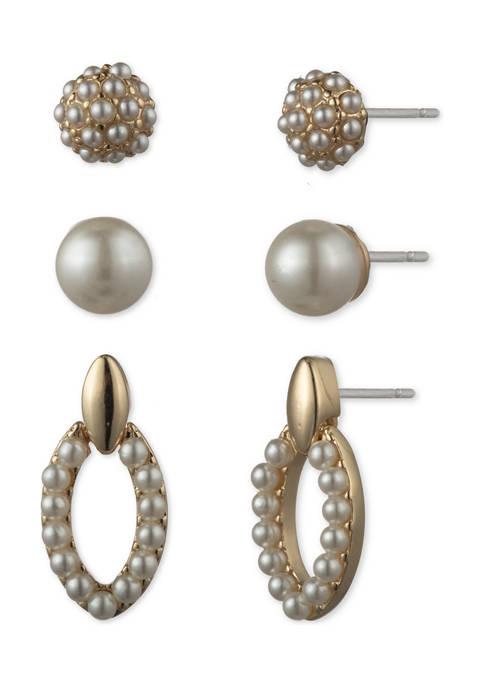 Anne Klein Gold Tone Blanc Pearl Trio Earrings