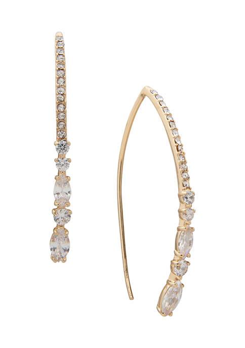 Anne Klein Gold Tone Crystal Navette Round Stone