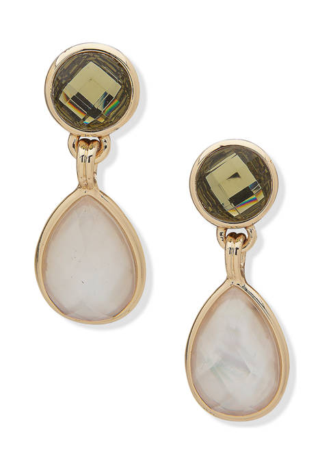 Anne Klein Gold Tone Mint White Double Drop