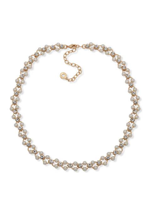 Anne Klein 16 Inch Gold Tone Pearl Crystal
