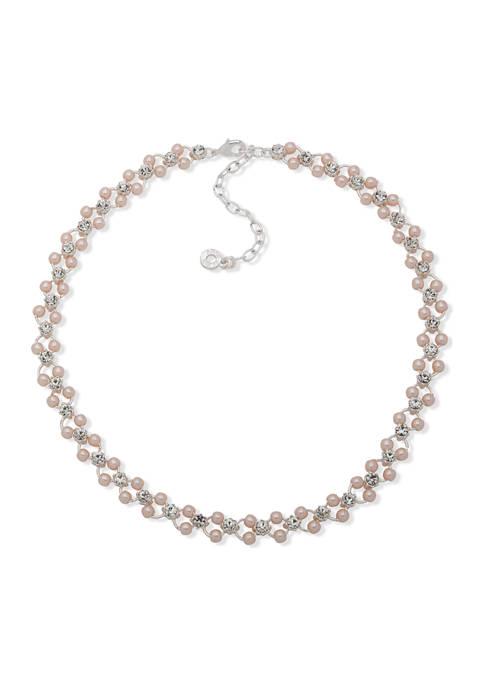 Anne Klein Silver Tone 16 Inch Pink Crystal