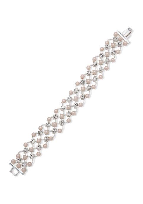 Anne Klein Silver Tone Pink Crystal Open Flex