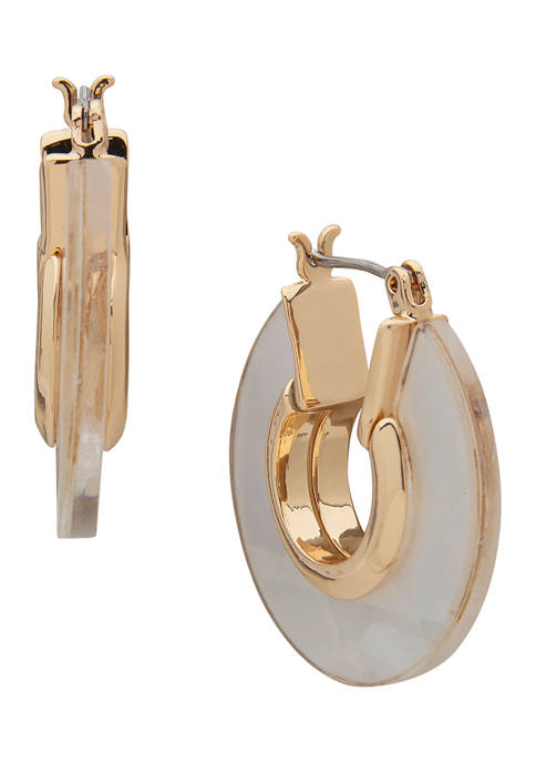 Anne Klein Gold Tone White Click Top Abalone