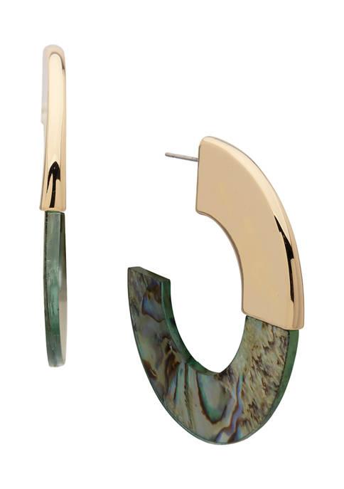 Anne Klein Gold Tone Abalone C Hoop Earrings