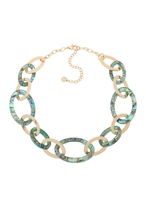 Anne Klein 17 Inch Gold Tone Abalone Link