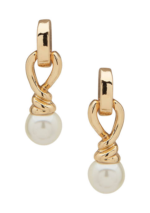 Anne Klein Gold Tone Pearl Twisted Post Drop